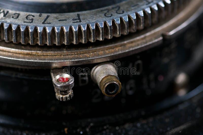 Cierre del anillo de la abertura encima del tiro en cámara del vintage foto de archivo libre de regalías