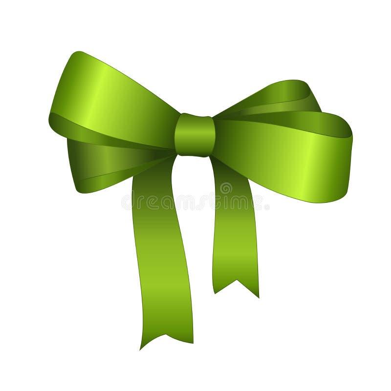 Cierre del arco del regalo del satén del verde del vector para arriba aislado en el fondo blanco ilustración del vector