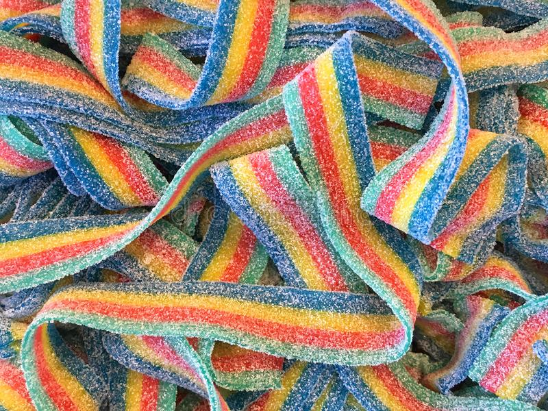 Cierre del caramelo del rollo de la fruta del arco iris para arriba foto de archivo libre de regalías