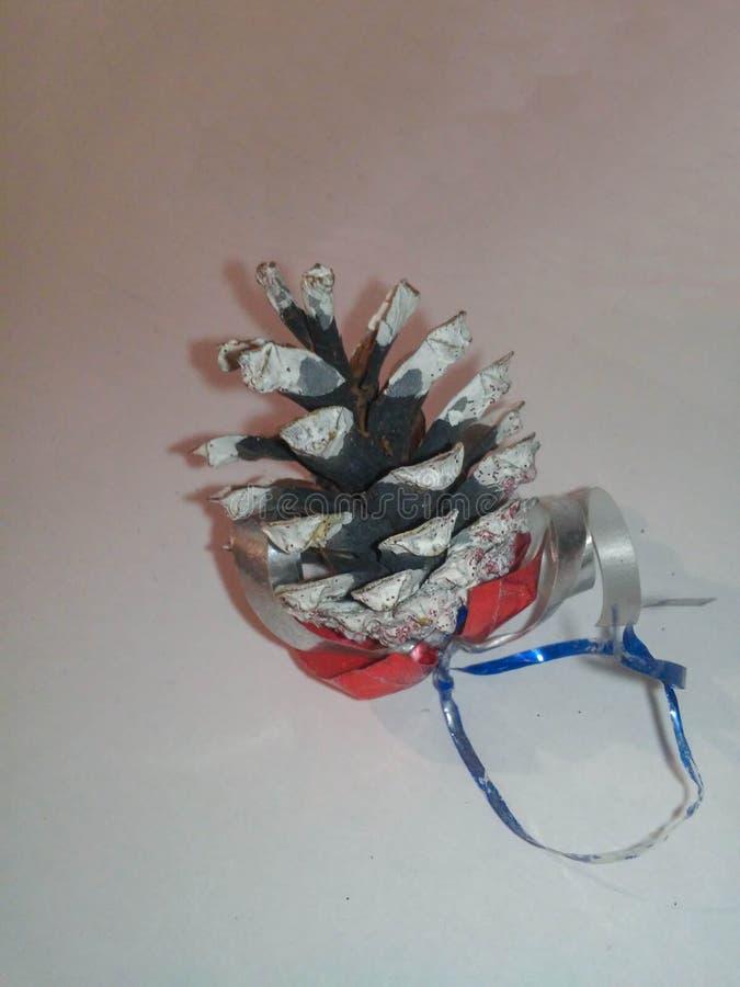 Cierre del cono del pino para arriba en el fondo blanco imagen de archivo libre de regalías