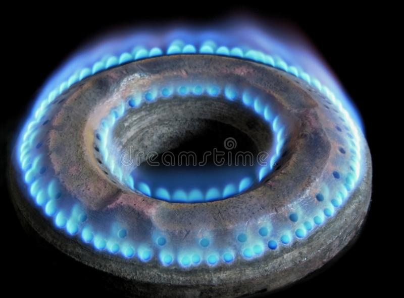 Cierre del fuego de la llama de la hornilla de la estufa de gas para arriba contra fondo negro imagenes de archivo