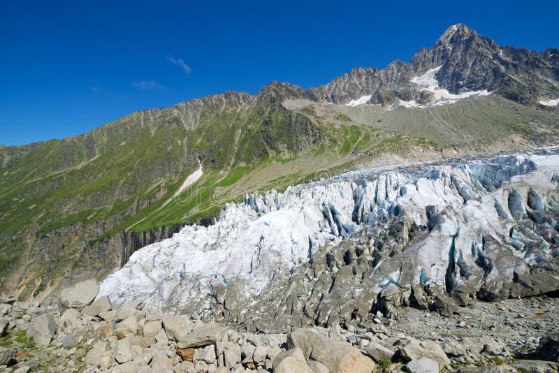 Cierre del glaciar de Argentiere para arriba imágenes de archivo libres de regalías