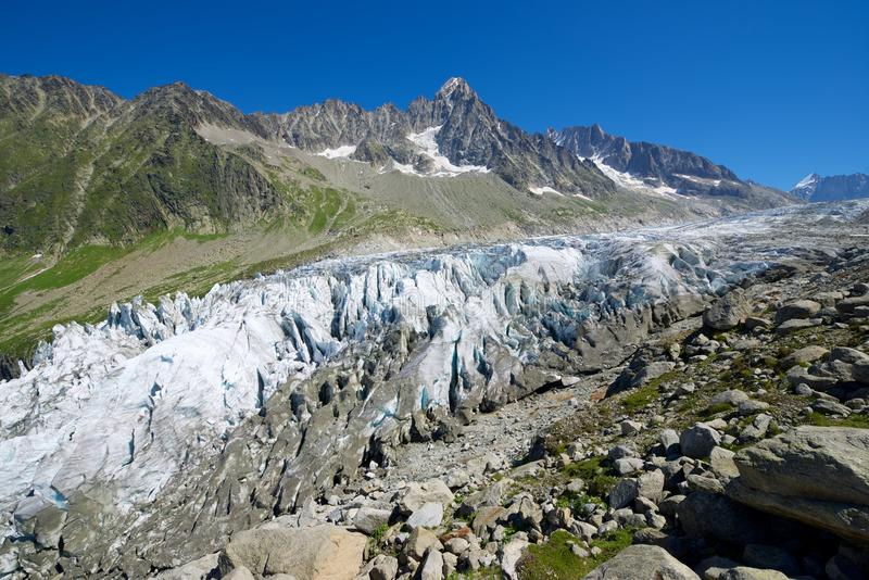 Cierre del glaciar de Argentiere para arriba fotografía de archivo