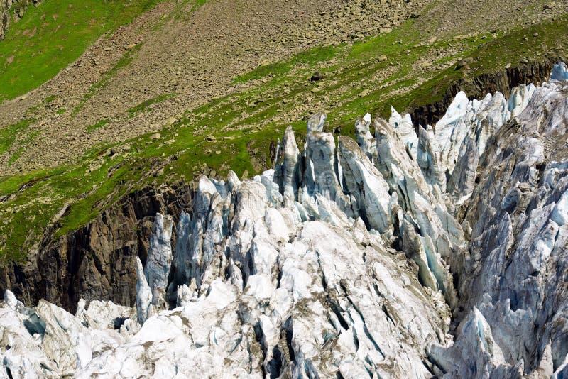 Cierre del glaciar de Argentiere para arriba fotografía de archivo libre de regalías