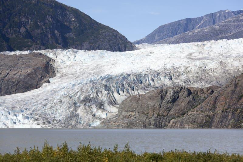 Cierre del glaciar de Mendenhall para arriba foto de archivo