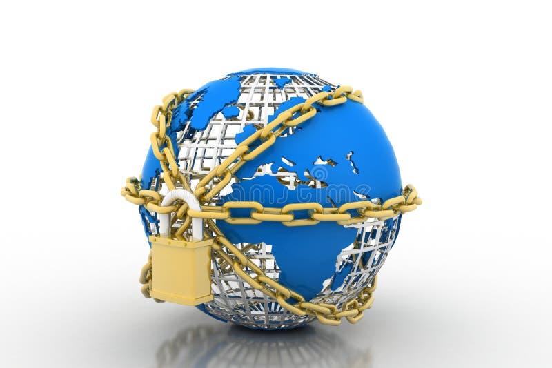 Cierre del globo de la tierra en cadena y candado ilustración del vector