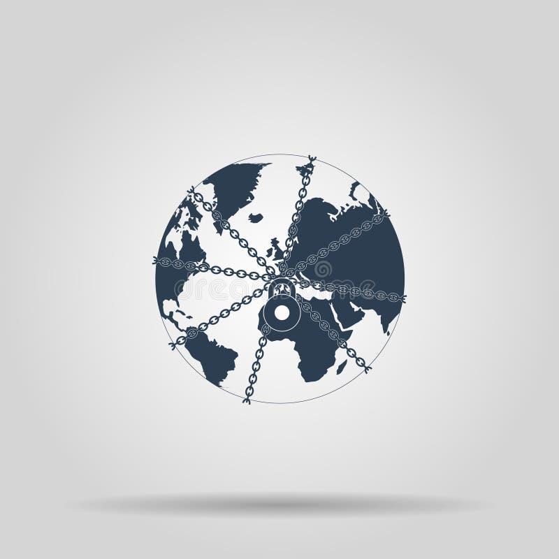 Cierre del globo de la tierra en cadena y candado libre illustration
