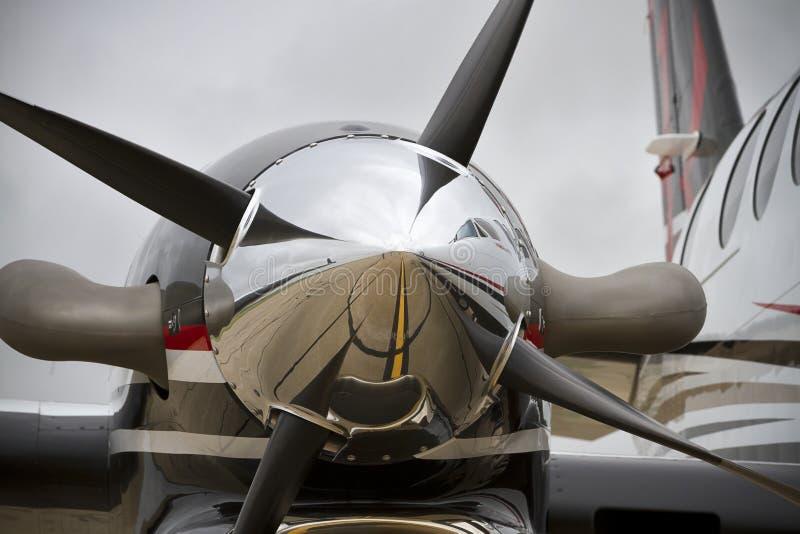Cierre del motor del propulsor en rey Air imagen de archivo libre de regalías