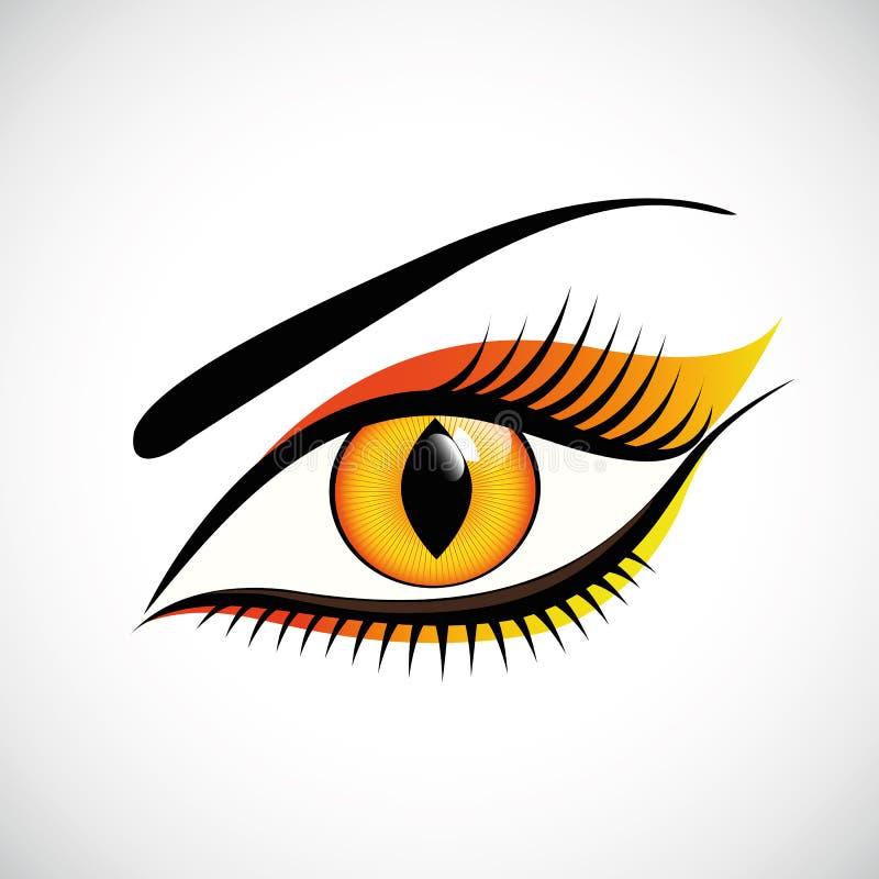 Cierre del ojo de la mujer encima de la lente de contacto del diseño del gato ilustración del vector