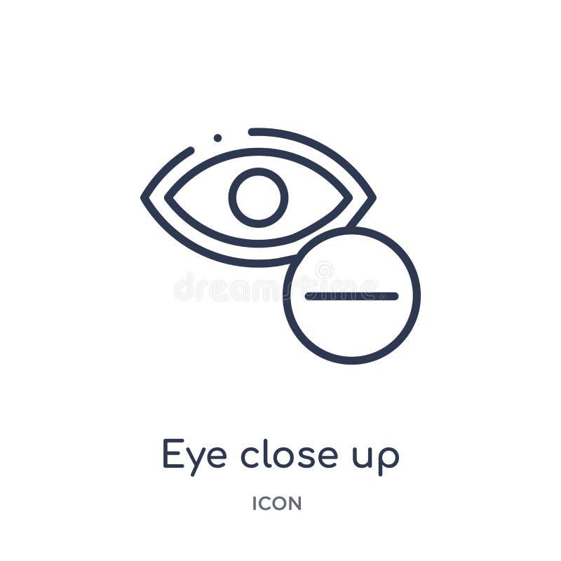 cierre del ojo encima del icono del botón de la visibilidad de la colección del esquema de la interfaz de usuario La línea fina c ilustración del vector