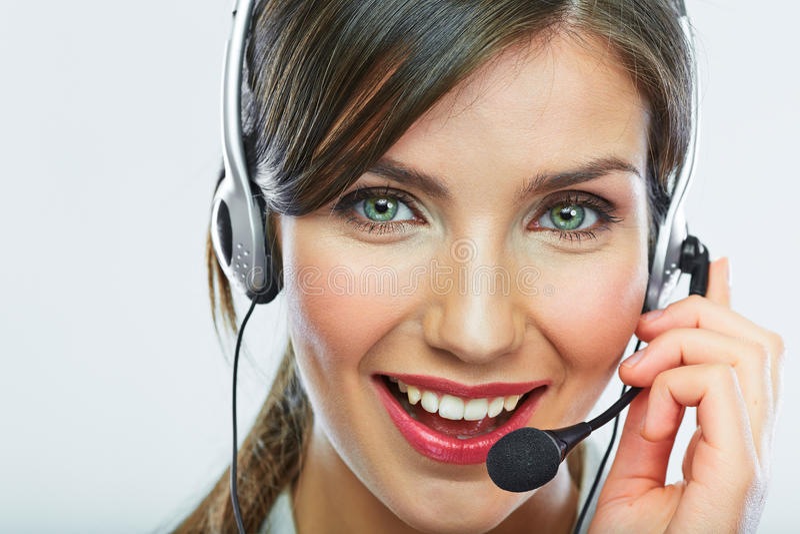 Cierre del operador de la atención al cliente encima del retrato smili del centro de atención telefónica fotos de archivo libres de regalías