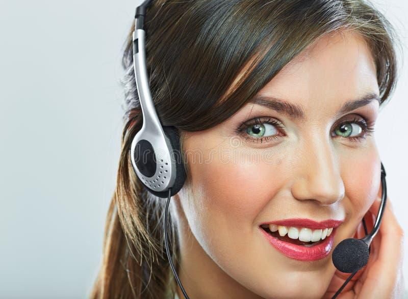 Cierre del operador de la atención al cliente encima del retrato smili del centro de atención telefónica fotografía de archivo libre de regalías