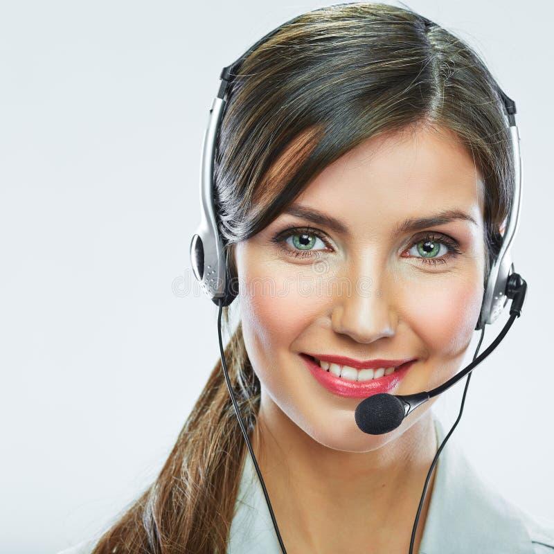 Cierre del operador de la atención al cliente encima del retrato smili del centro de atención telefónica fotos de archivo