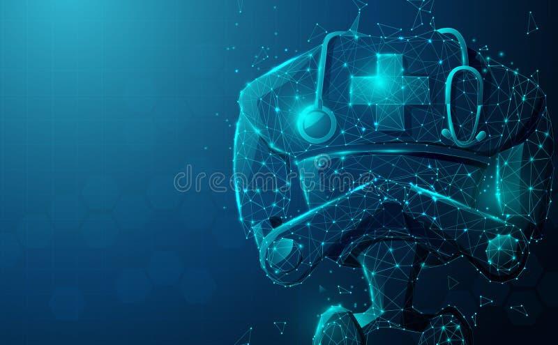 Cierre del robot médico con estetoscopio Inteligencia artificial, AI Concepto moderno de tecnologías médicas stock de ilustración