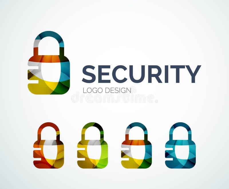 Cierre el diseño del logotipo hecho de pedazos del color ilustración del vector