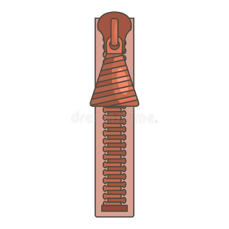 Cierre el icono de la cremallera, estilo de la historieta ilustración del vector