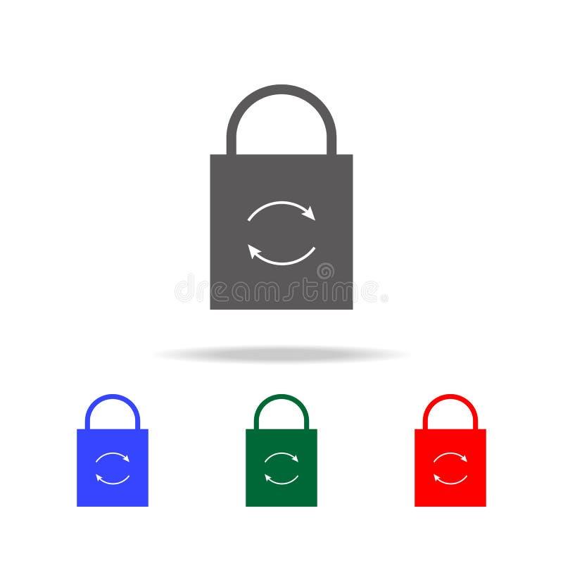 Cierre el icono de la recarga Elementos en los iconos coloreados multi para los apps móviles del concepto y del web Iconos para e fotos de archivo libres de regalías