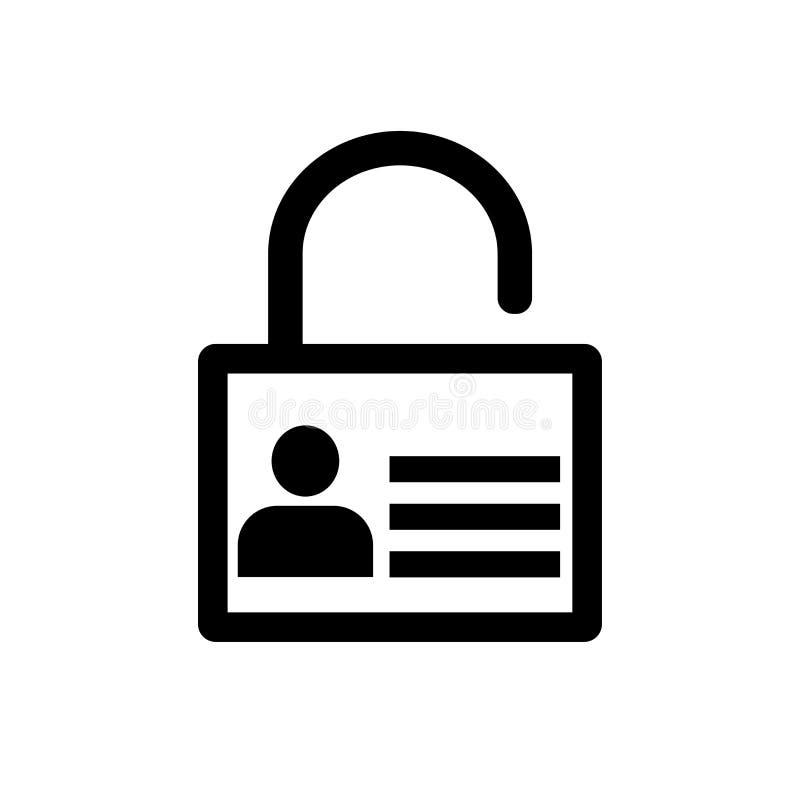 Cierre el icono, icono del usuario en llave - vector el diseño icónico ilustración del vector