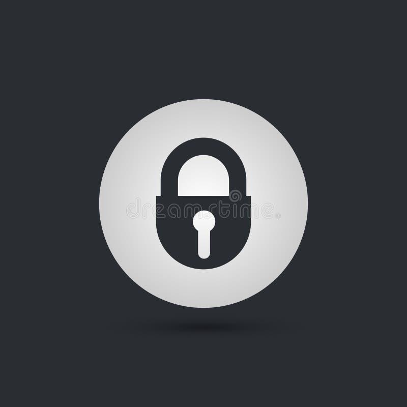 Cierre el icono redondeado ojo de la cerradura El estilo del ejemplo del vector es símbolo completamente icónico dentro de un cír stock de ilustración
