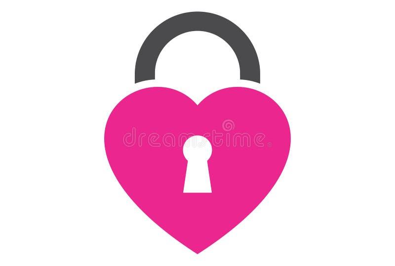 Cierre el logotipo del amor ilustración del vector