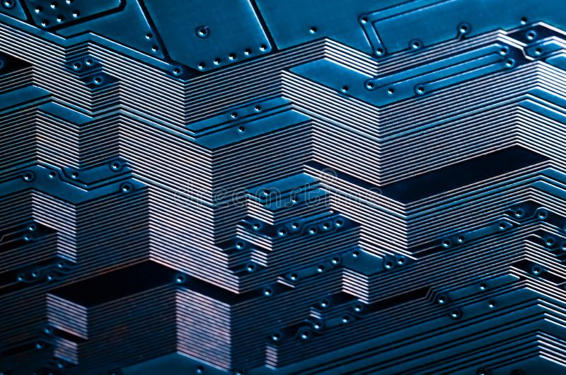 Cierre electrónico de la placa de circuito encima de la textura del fondo stock de ilustración