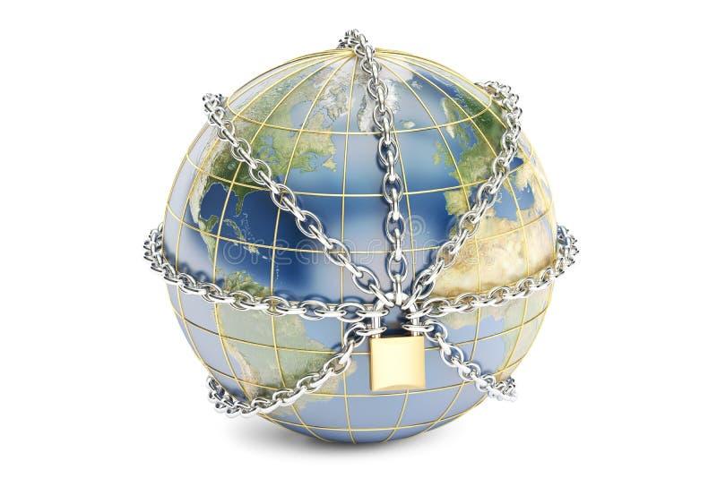 Cierre en cadena, concepto del globo de la tierra de la seguridad representación 3d stock de ilustración