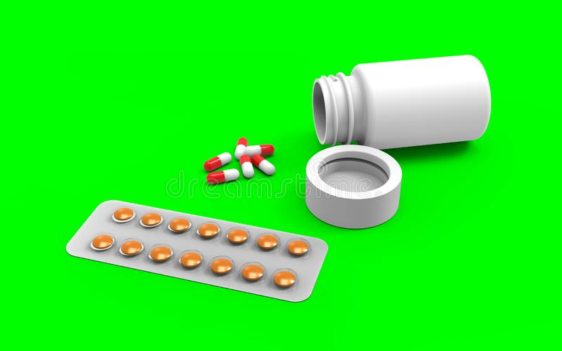 Cierre encima de la botella de píldora blanca con las cápsulas derramadas de la salida con la trayectoria de recortes ilustración del vector