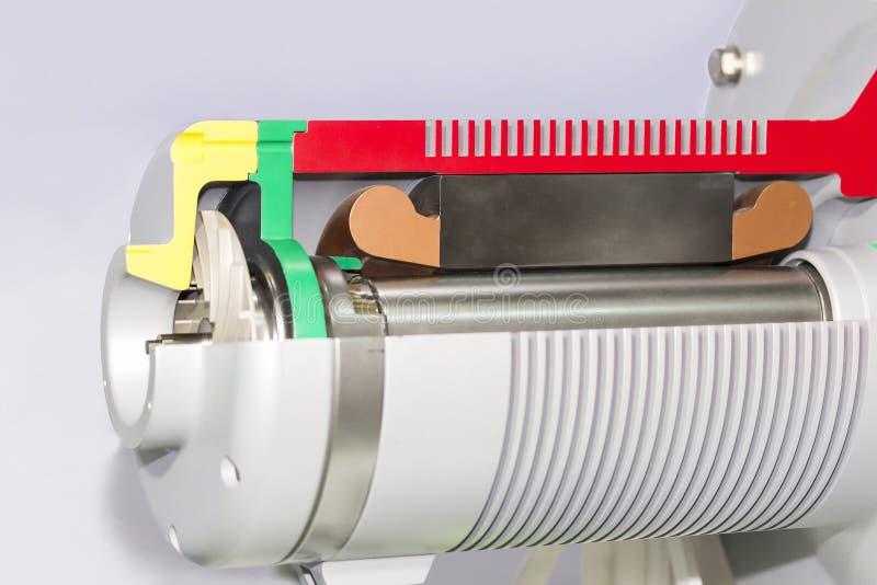 Cierre encima de la parte posterior del corte transversal del detalle y de la bomba centrífuga o del ventilador del electroimán i imágenes de archivo libres de regalías