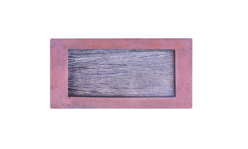 Cierre encima de la vieja textura de madera vacía de la muestra en marco metálico oxidado imágenes de archivo libres de regalías