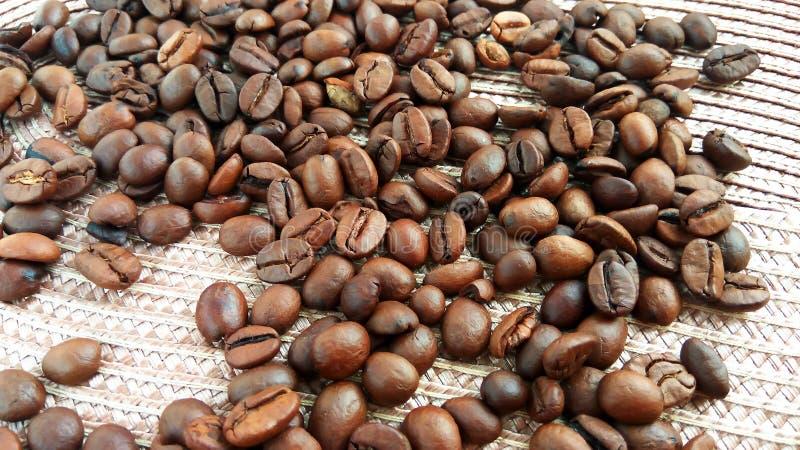 Cierre encima de los granos de café marrones asados en fondo ligero del paño foto de archivo libre de regalías