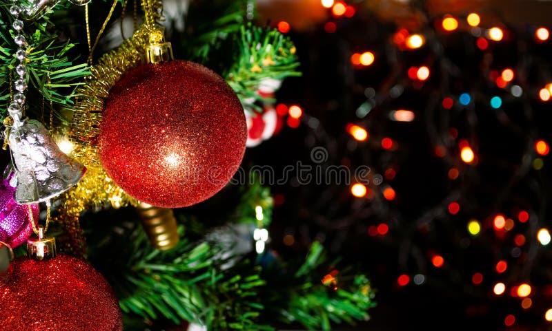 cierre encima de los ornamentos rojos de la bola en árbol de los chrismas con el fondo del bokeh fotos de archivo libres de regalías