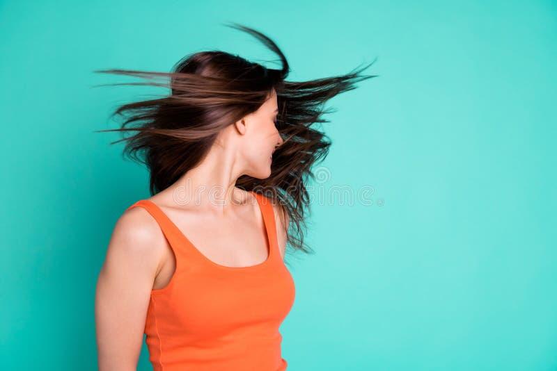 Cierre encima de su hermoso asombroso de la foto ella champ? de la condici?n sana del vuelo del pelo del viento de las vacaciones imagenes de archivo