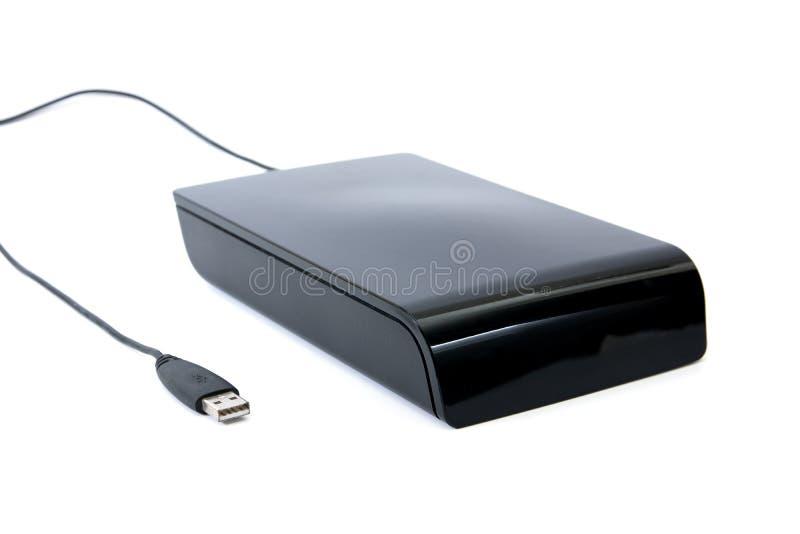 Cierre encima del aislante externo del color del negro del disco duro en el fondo blanco Vieja unidad de disco duro externa grand foto de archivo libre de regalías