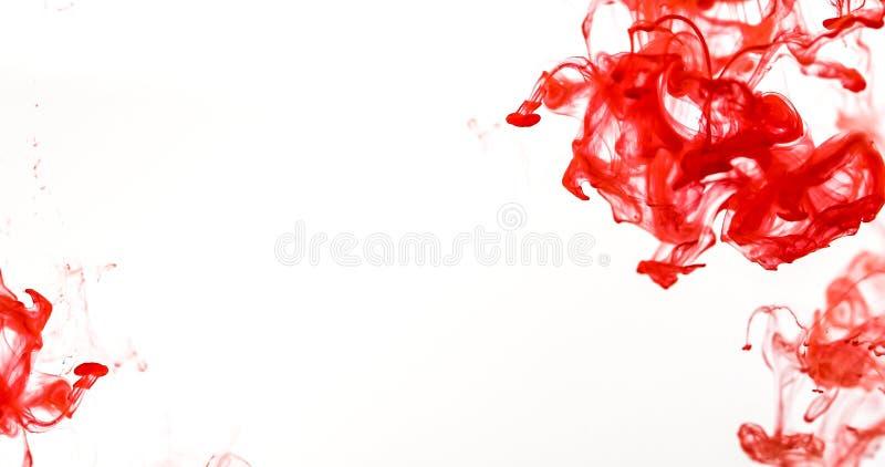 Cierre encima del descenso coloreado rojo en el agua, movemen abstractos del movimiento imagen de archivo