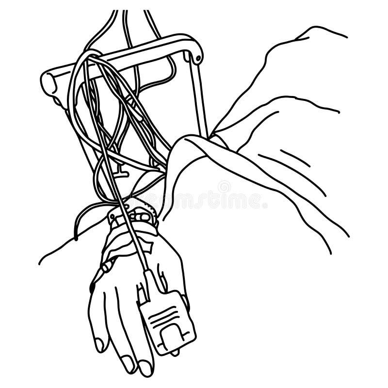 Cierre encima del foco de la gente en la mano de un enfermo paciente en la mano del garabato del bosquejo del ejemplo del vector  stock de ilustración