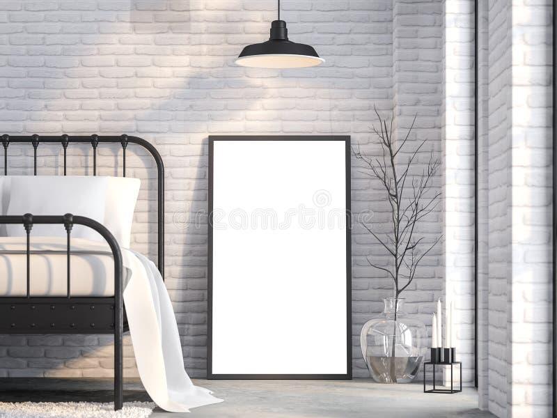 Cierre encima del marco en blanco en el dormitorio 3d del desván rendir stock de ilustración