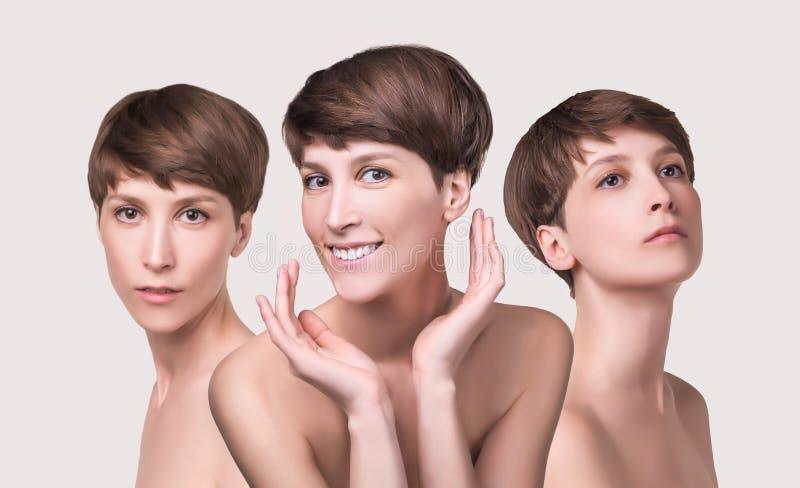Cierre femenino hermoso de la cara para arriba retrato del modelo joven en el estudio en blanco fotos de archivo libres de regalías