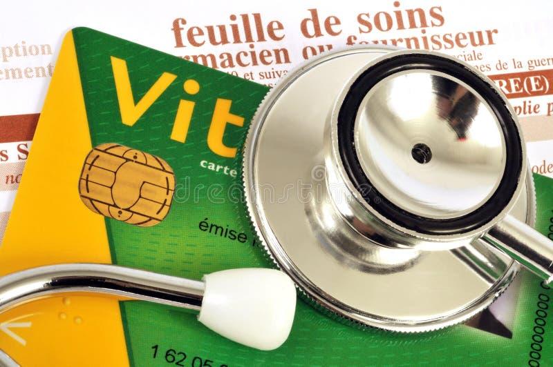 Cierre francés de la tarjeta de Seguridad Social para arriba fotos de archivo