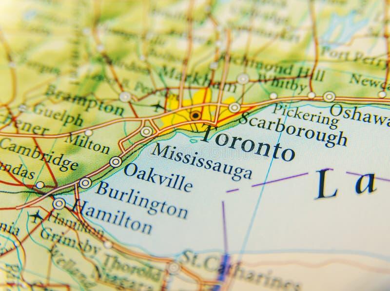 Cierre geográfico del mapa de Toronto imagen de archivo