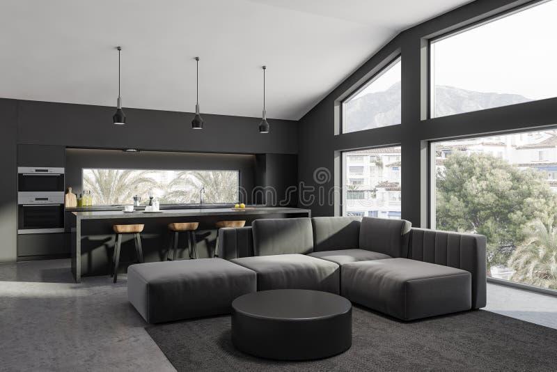 Cierre gris de la esquina de la sala de estar y de la cocina para arriba ilustración del vector