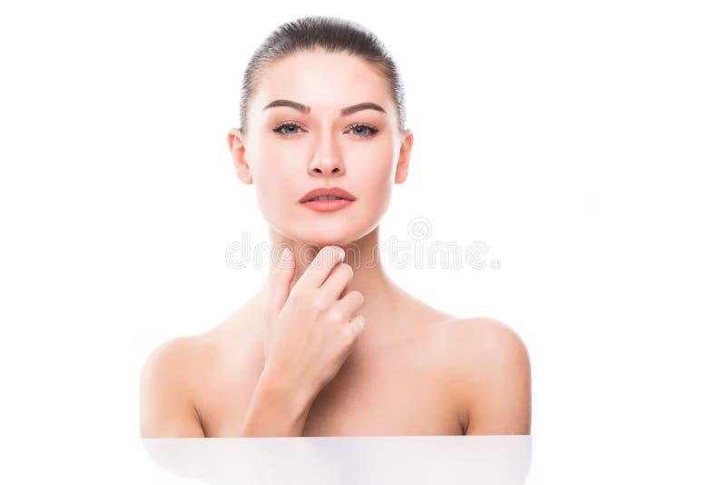 Cierre hermoso de la cara de la mujer encima del retrato imagen de archivo libre de regalías