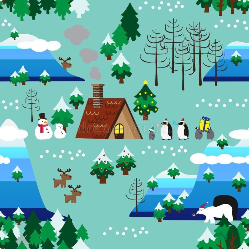 Cierre inconsútil del modelo del paisaje del tema de la Navidad para arriba libre illustration