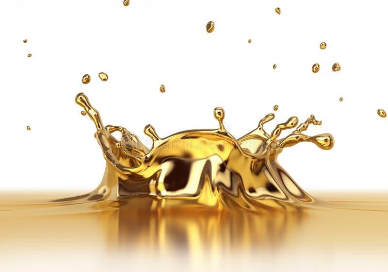Cierre líquido del spash del oro para arriba fotografía de archivo