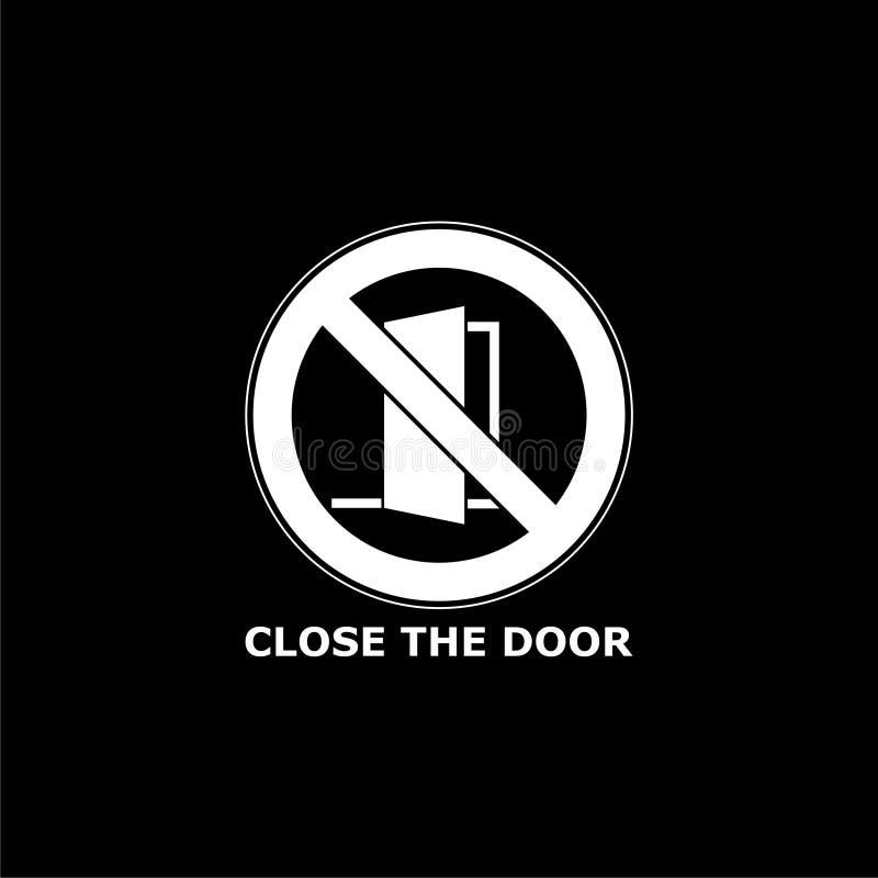 Cierre la muestra de la puerta, guarde este icono o logotipo cerrado de la puerta en fondo oscuro libre illustration