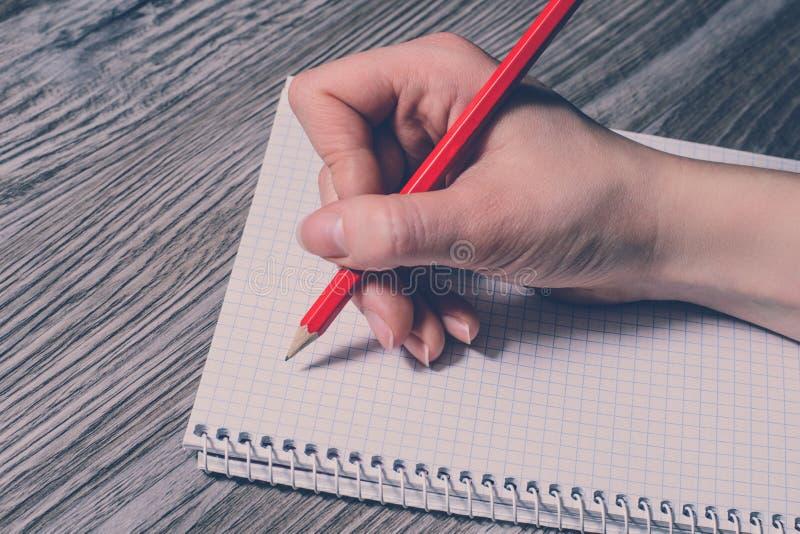 Cierre lateral del perfil encima de la foto de la mano del ` s de la persona que hace notas al cuaderno usando el lápiz rojo de l imagen de archivo libre de regalías
