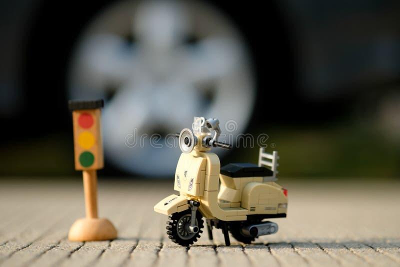 Cierre modelo miniatura de la vespa del vespa del vintage para arriba foto de archivo