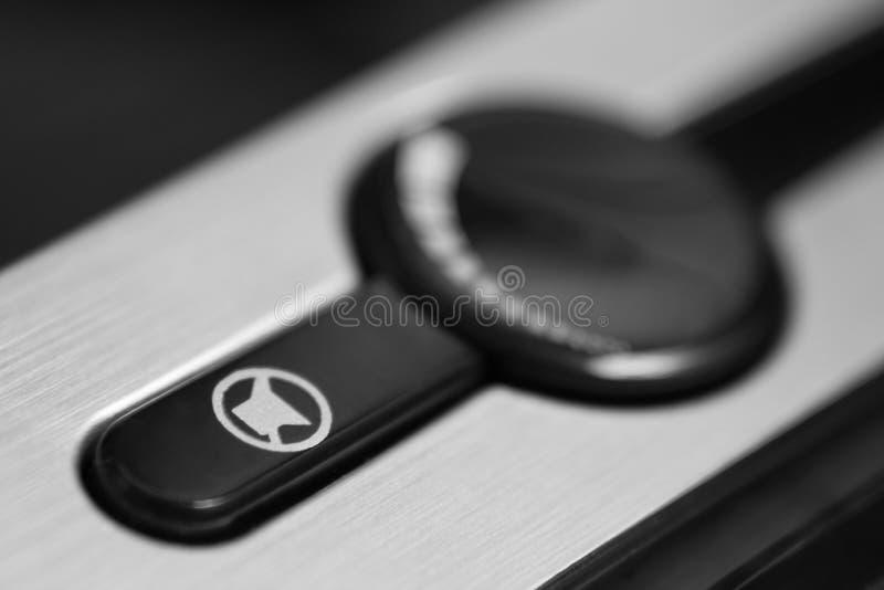 Cierre negro del teclado de ordenador para arriba fotografía de archivo
