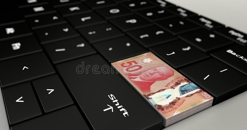Cierre para arriba de Canadá el botón de cincuenta dólares stock de ilustración
