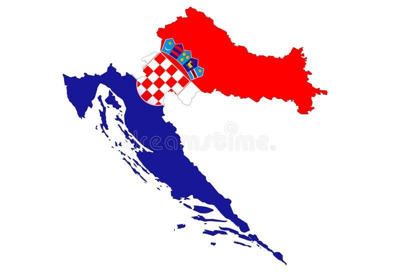 Cierre para arriba en el mapa de Croacia en el fondo blanco, ningunas sombras libre illustration