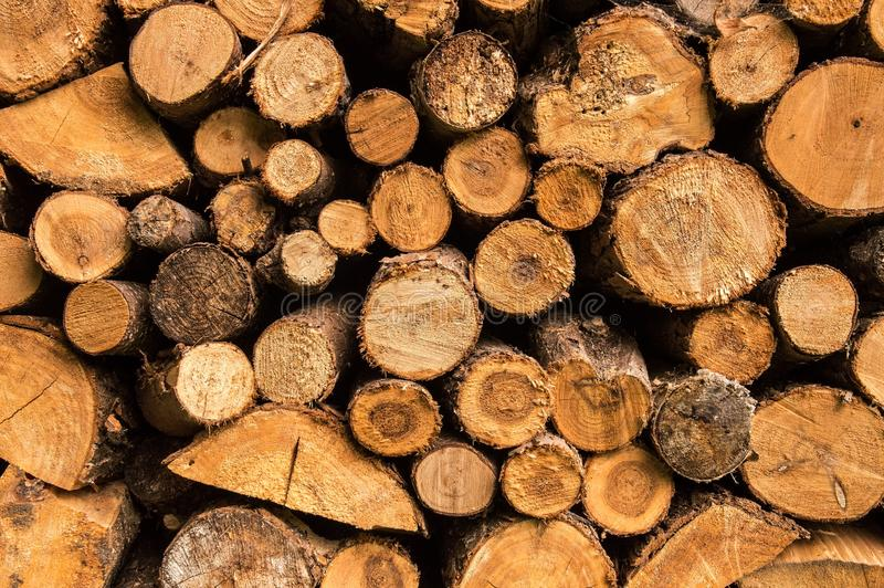 Cierre para arriba Pila de acción de madera Pila de la madera, pila de madera Fondo, textura imágenes de archivo libres de regalías